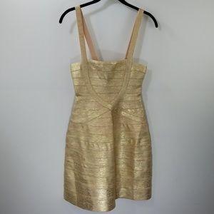 Herve Leger Gold Striped A-line Dress Size XS
